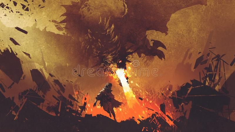 Boy running away from the fire dragon royalty free illustration