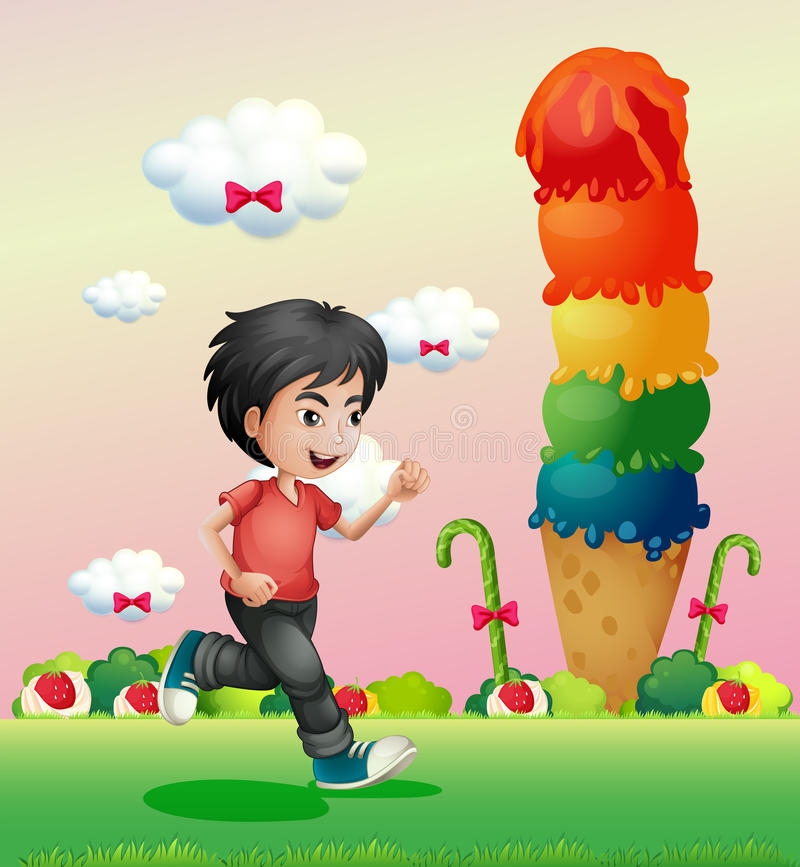 A boy running in the candyland vector illustration