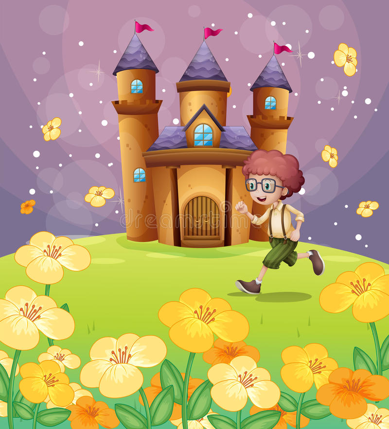 A boy running in front of the castle with flowers. Illustration of a boy running in front of the castle with flowers stock illustration