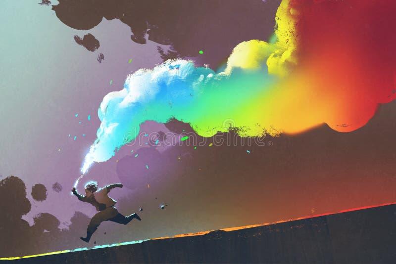 Boy running and holding up colorful smoke flare on dark background stock illustration
