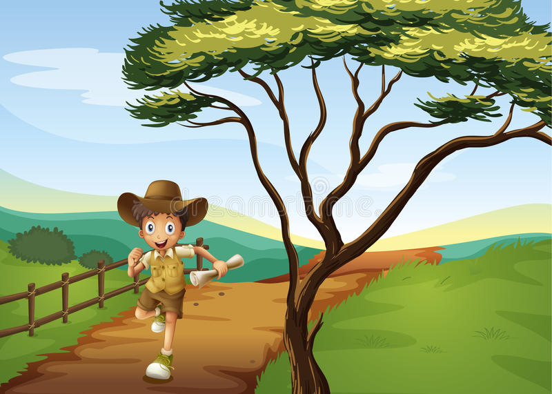A boy running. Illustration of a boy running in a beautiful nature stock illustration
