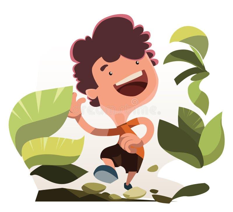 Boy running in nature illustration cartoon character. Enjoy royalty free illustration