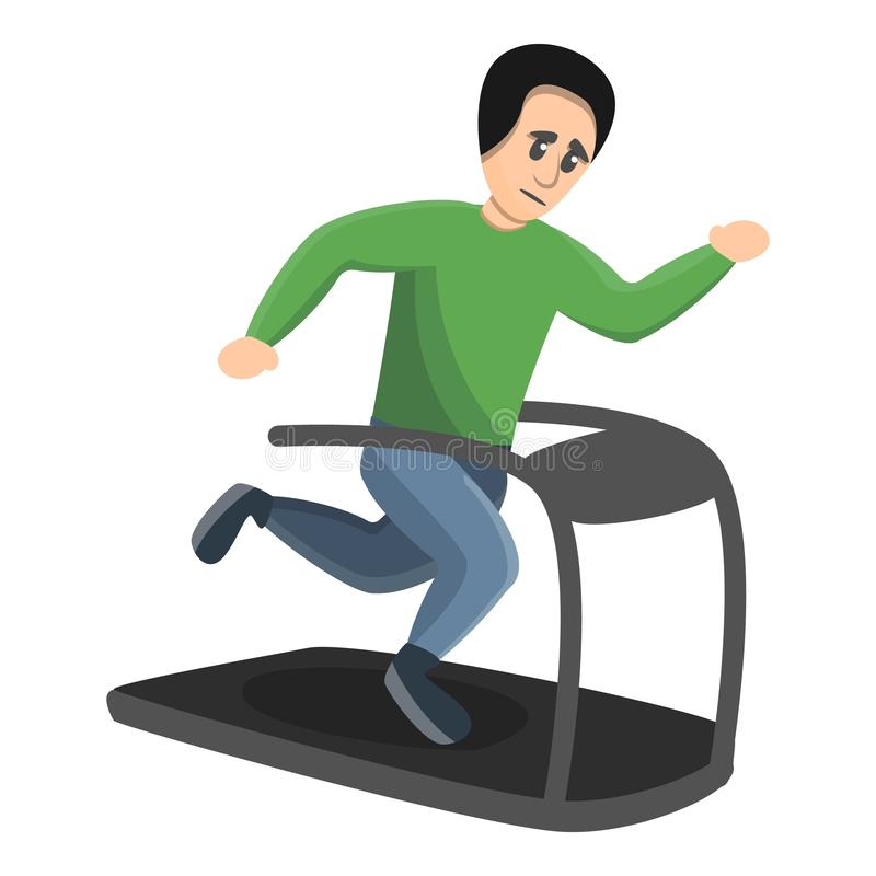 Boy running at treadmill icon, cartoon style. Boy running at treadmill icon. Cartoon of boy running at treadmill vector icon for web design isolated on white vector illustration