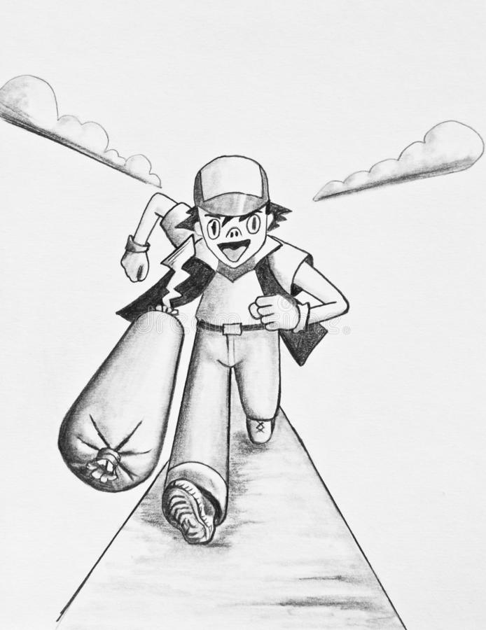 The boy runs after the transformer. The last transformation of a pig is sausage. Pencil drawing on paper royalty free illustration