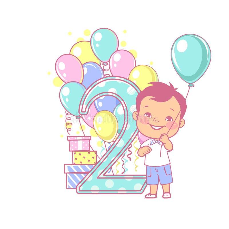 Boy`s birthday. stock illustration