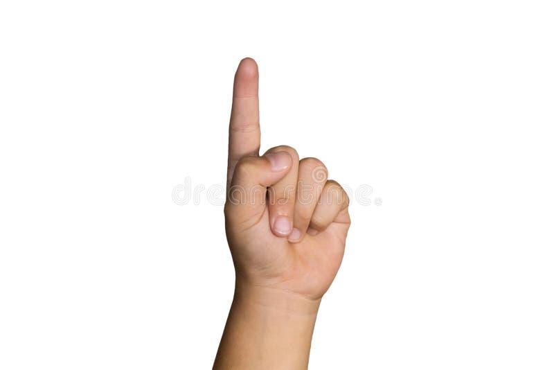Boy& x27; s ręka jest przedstawieniem palec wskazujący zdjęcie royalty free