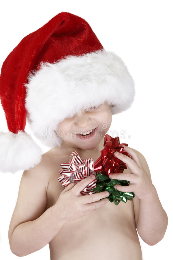 Boy in Santa Claus hat royalty free stock image