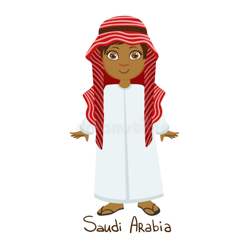 Boy In Saudi Arabia Country National Clothes, Wearing White Dress And Muslim Headdress Traditional For The Nation. Kid In Arabic Costume Representing stock illustration