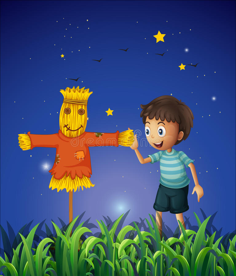 A Boy And A Scarecrow At The Ricefield Royalty Free Stock Images