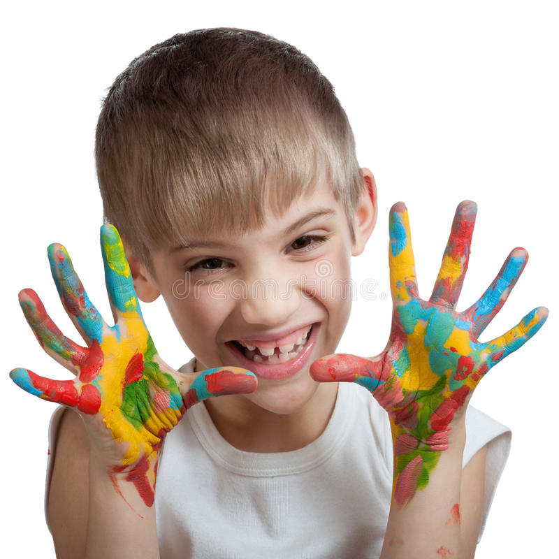 Download Boy Scares Their Hands Stained With Paint Stock Photos - Image: 29795723