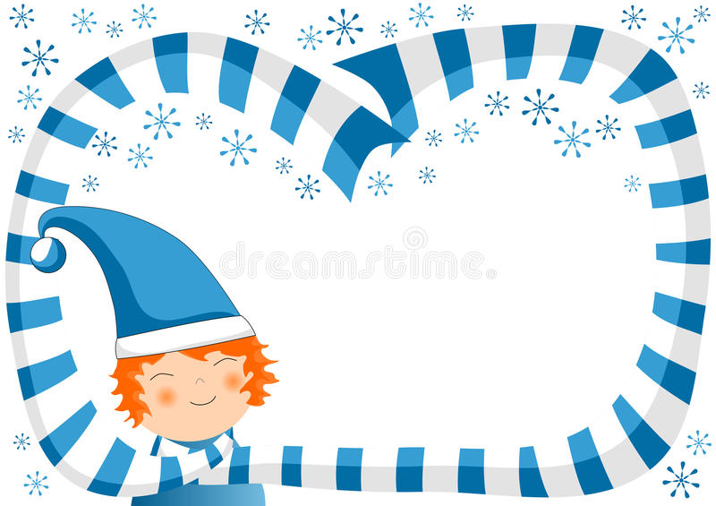 Boy with Scarf and Snowflakes Christmas Frame. Invitation or christmas card with a boy wearing a blue shawl and snowflakes making a border or frame vector illustration
