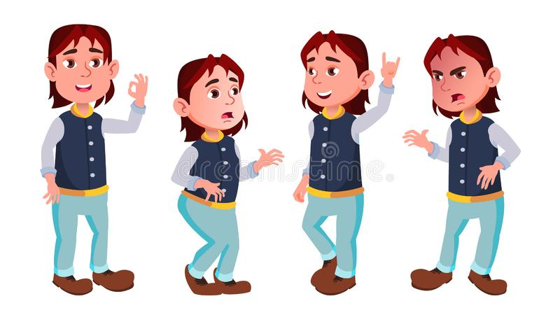 Boy Schoolboy Kid Poses Set Vector. Primary School Child. Cheerful Pupil. Teenager. For Postcard, Announcement, Cover. Design. Isolated Illustration stock illustration