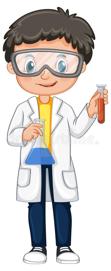 Boy in science gown holding beakers royalty free illustration