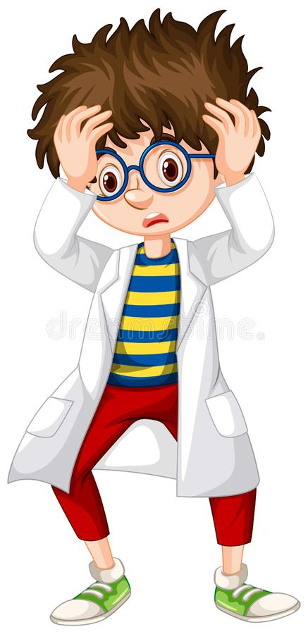 Boy in science gown looking worried vector illustration