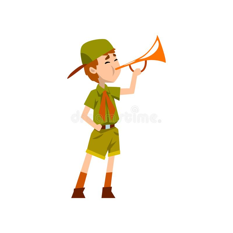 Boy scout character in green uniform playing trumpet vector Illustration on a white background vector illustration