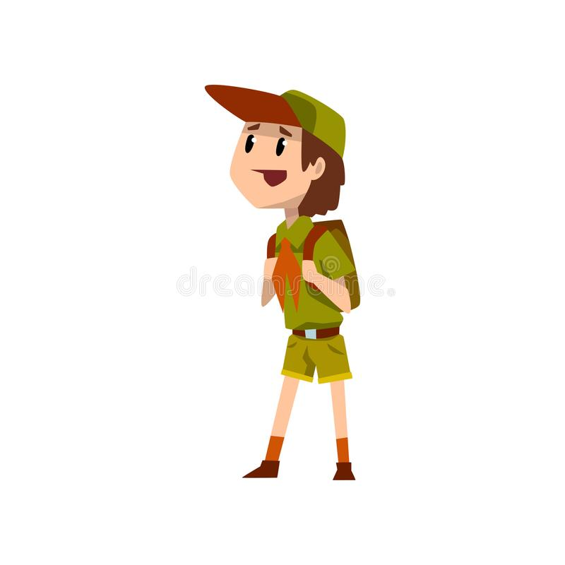 Boy scout character in uniform standing with backpack vector Illustration on a white background. Boy scout character in uniform standing with backpack vector vector illustration