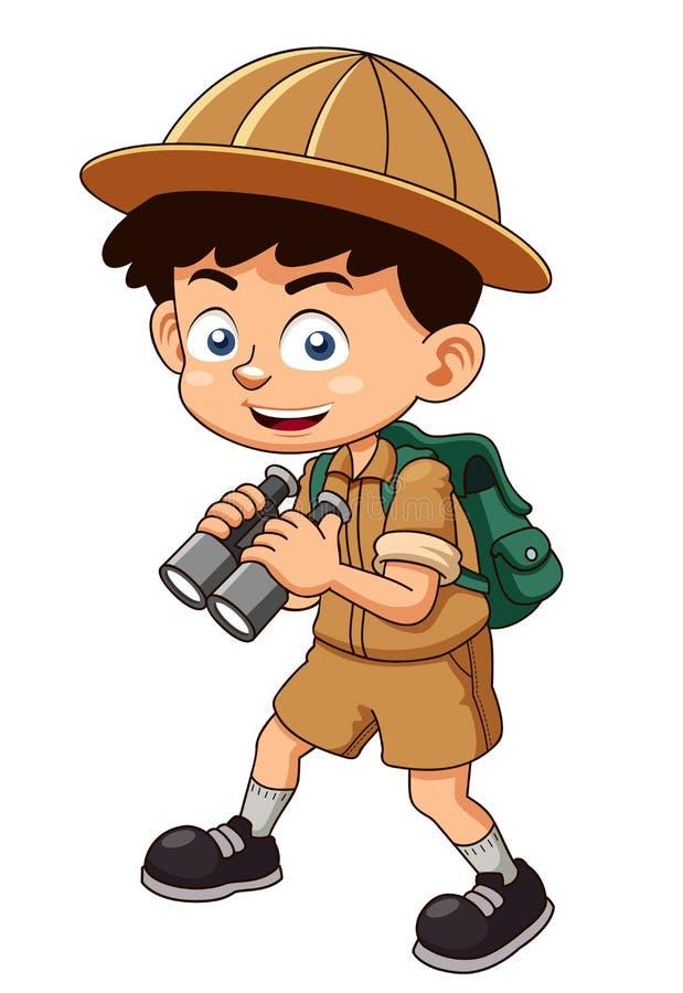 Boy scout con los prismáticos libre illustration