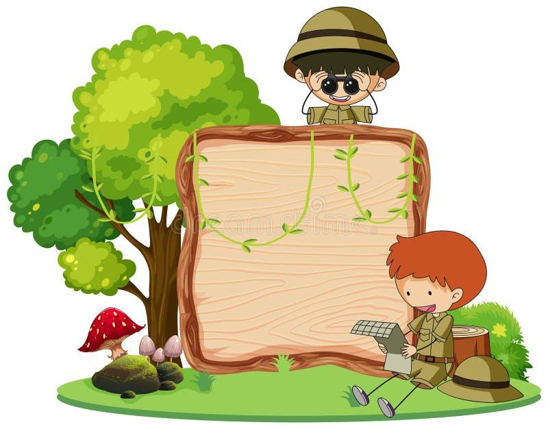 Boy scout en el tablero de madera libre illustration