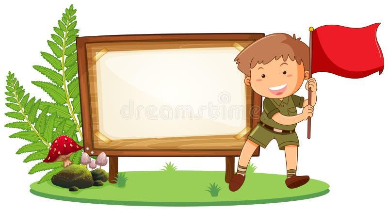 Boy scout en el tablero de madera stock de ilustración