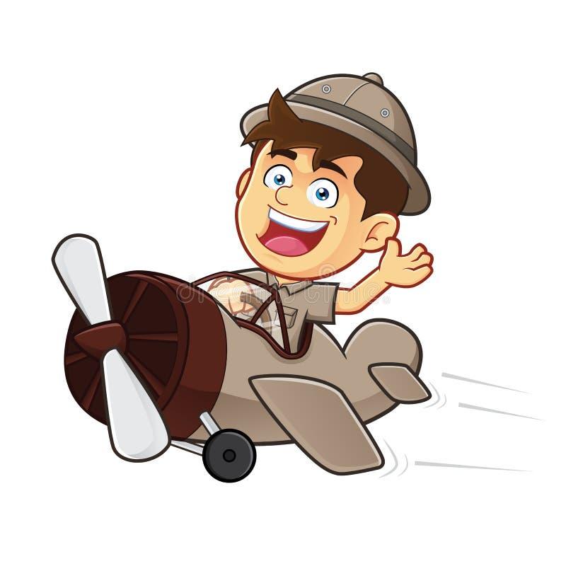 Boy scout o explorador Boy Riding Airplane stock de ilustración