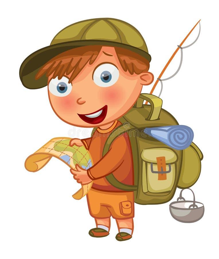 Boy scout Personaje de dibujos animados divertido ilustración del vector