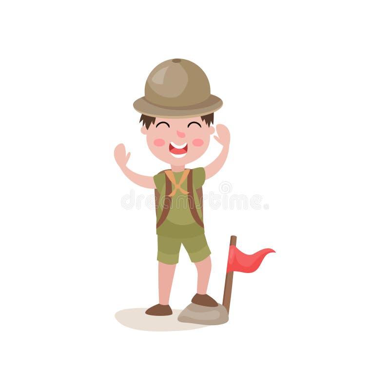 Boy scout que se coloca con un pie en la bandera cercana de piedra y que agita alegre sus manos libre illustration