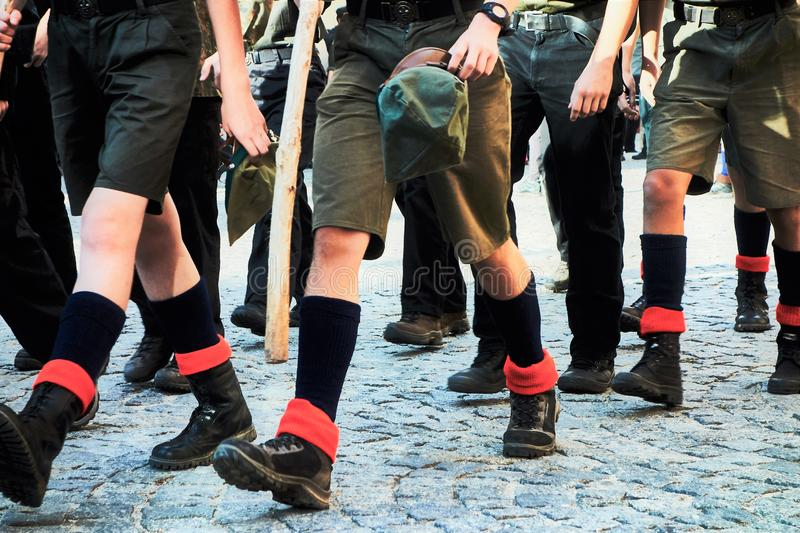 Boy scouts marching royalty free stock photography