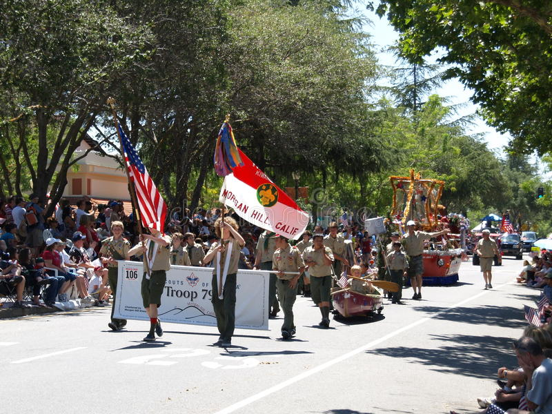 Download Boy Scouts in parade editorial stock image. Image of independence - 15054294