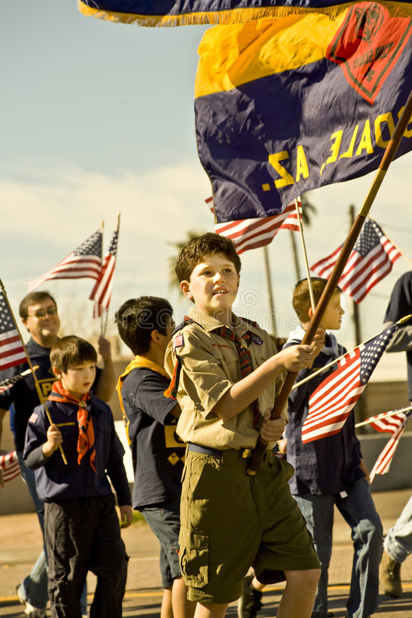 Boy Scouts in Parade. Boy Scouts in the Parada Del Sol (called world's largest horse drawn parade) held in February in Scottsdale Arizona stock photography