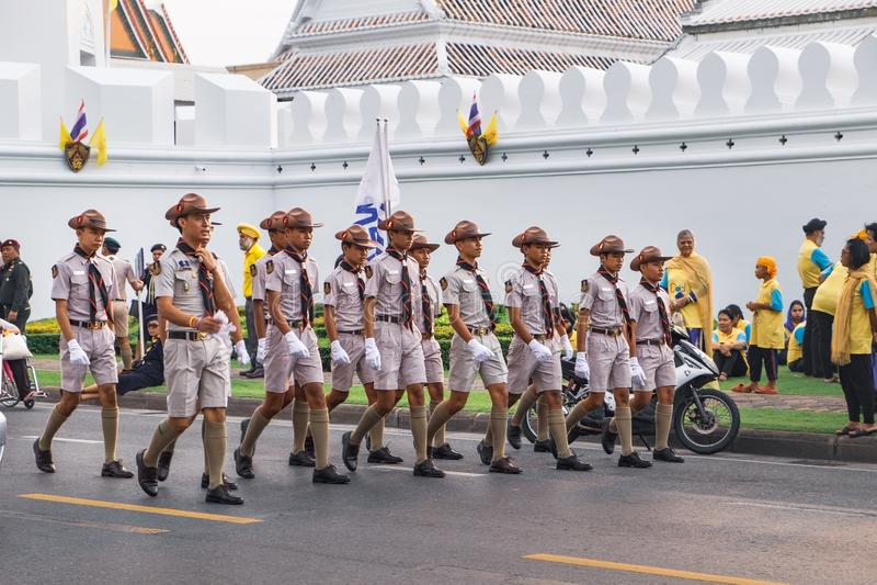 Boy scouts participates in the parade, Bangkok, Thailand stock photo