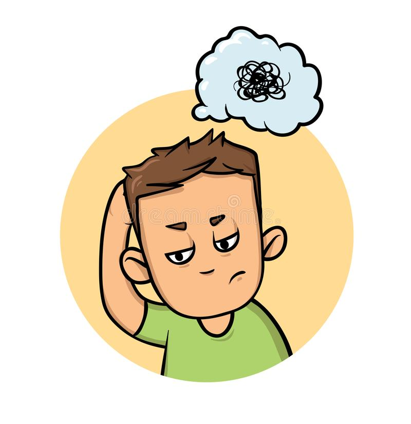 Boy scratching his head trying to remember or thinking hard. Confusion, memory loss. Flat design icon. Flat vector. Boy scratching his head trying to remember or royalty free illustration