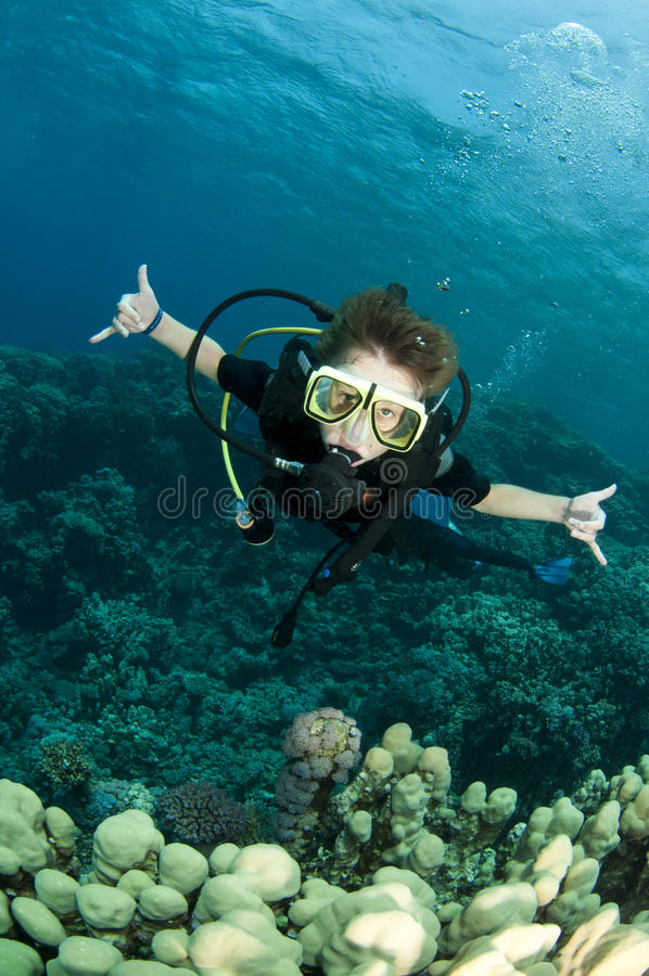 Boy scuba diver royalty free stock image