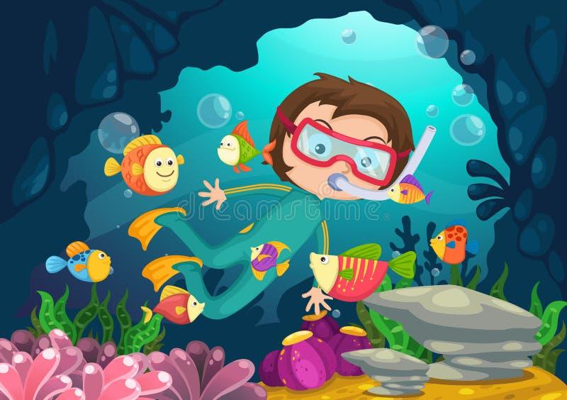 Boy scuba diving vector stock photography