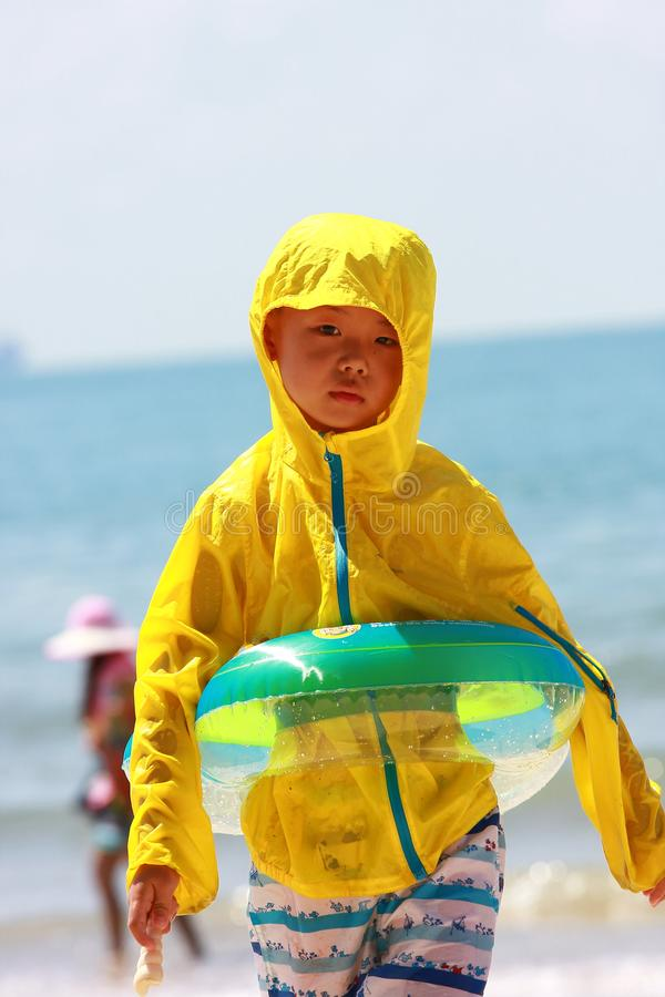 Boy by sea beach royalty free stock images