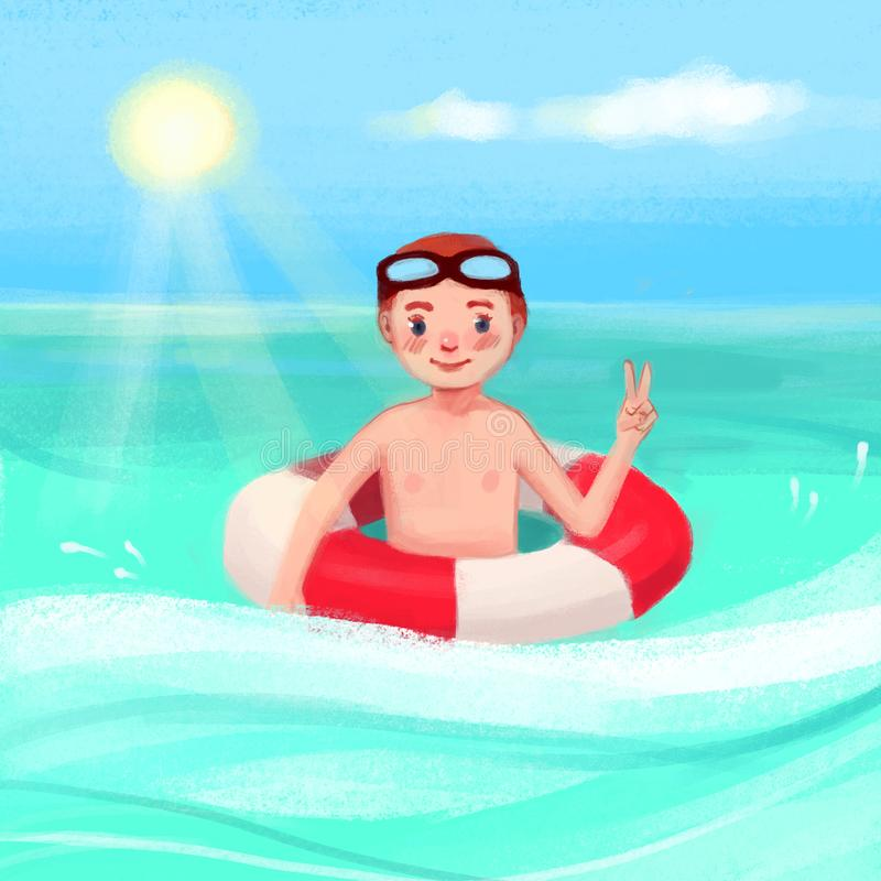 A boy in the sea with a lifebuoy royalty free illustration