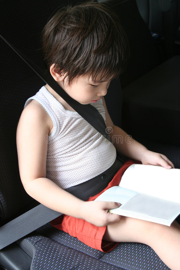 Boy with seat-belt stock photography