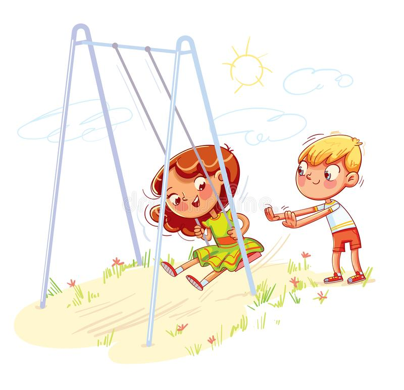 Boy shakes the girl on a swing at the playground. Girl swinging on a swing. Kids zone. Place for games. Funny cartoon character. Vector illustration. Isolated vector illustration