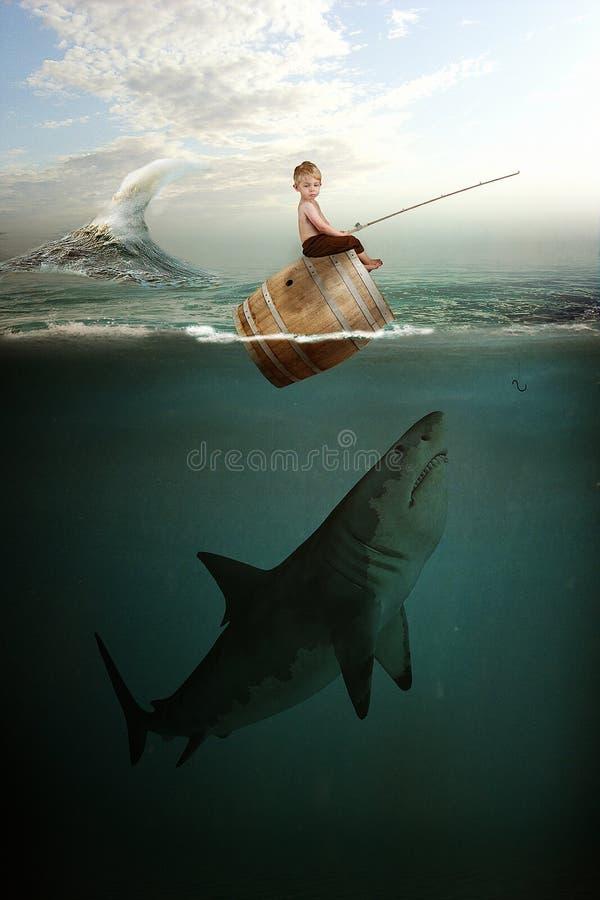 Boy and Shark stock photo