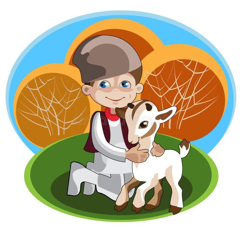 Boy - shepherd and kid stock illustration