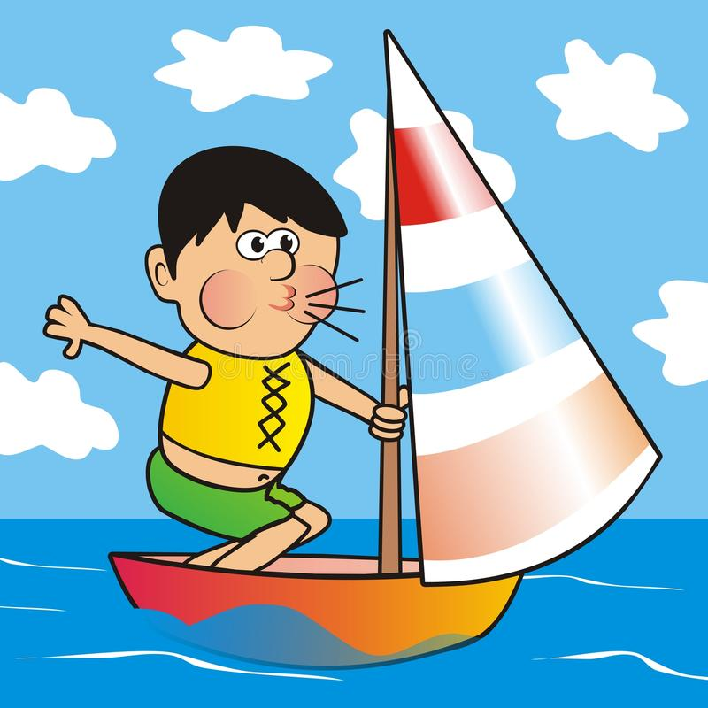 Cartoon Of Man Sailing In A Small Boat Stock Vector ...