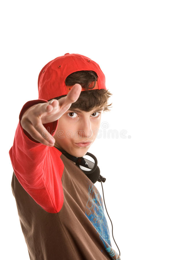 Boy Shooting From Fingers Royalty Free Stock Photo