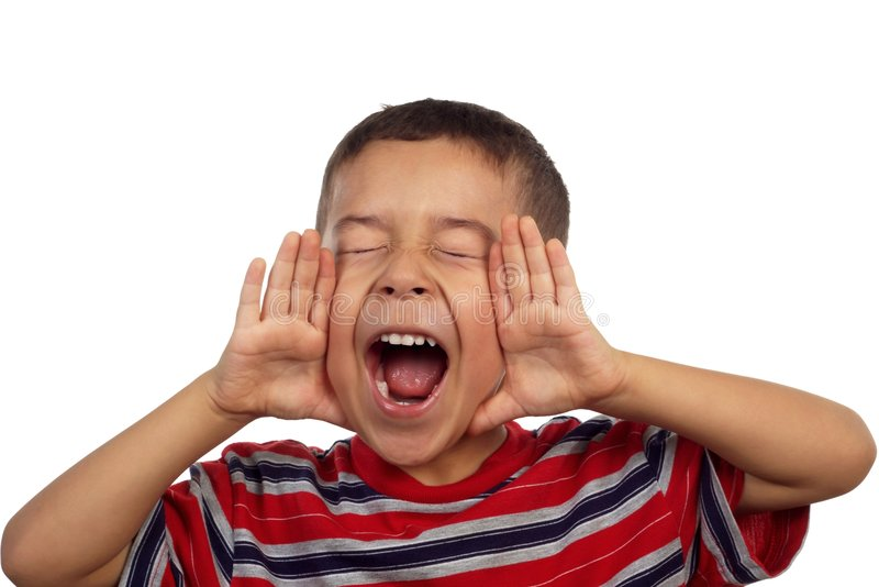 Boy shouting 5 years old. Vertical portrait of a five-year-old hispanic boy yelling or screaming stock photography