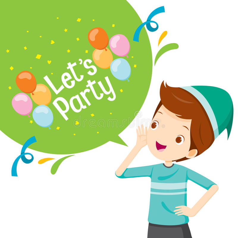 Boy Shouting And Speech Bubble With Let`s Party Letter stock illustration