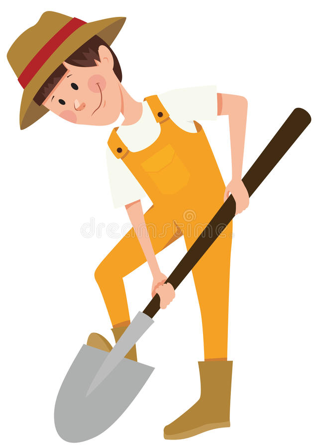Boy with shovel stock illustration