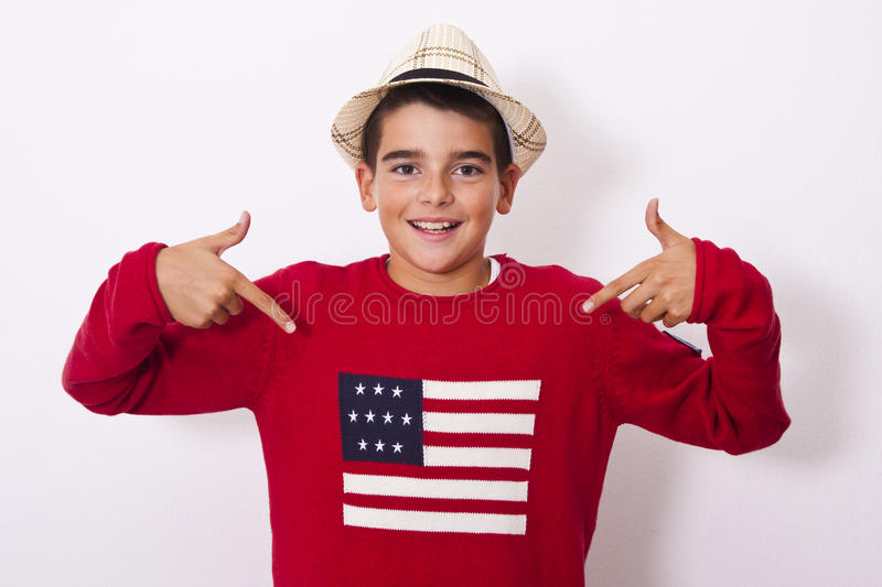 Boy showing the american stock photography