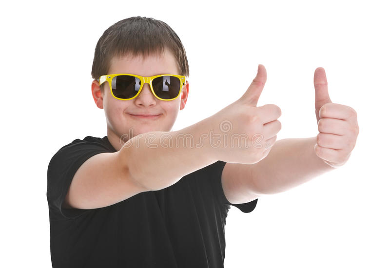 Download Boy showing thumb up sign stock photo. Image of part - 23114342