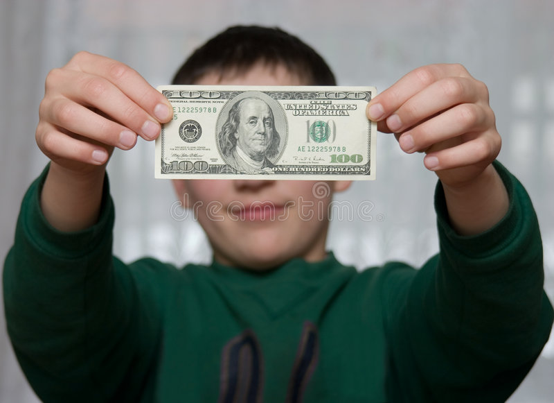 Download A Boy Shows 100 Dollars Stock Images - Image: 751794