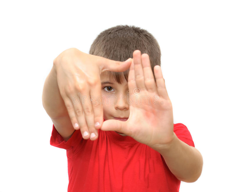 The boy shows emotion gestures royalty free stock image