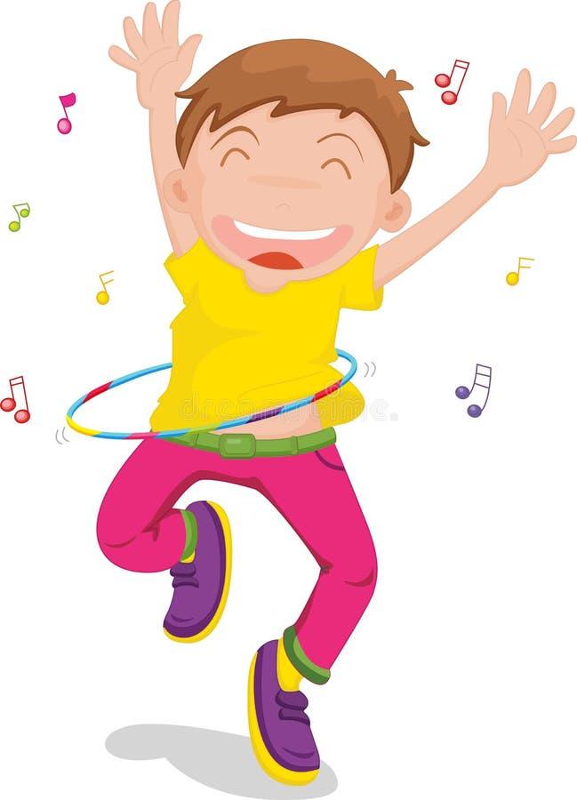 Boy singing and dancing royalty free illustration