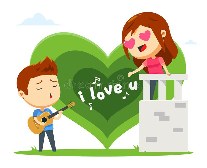 A boy is singing for his girl. Vector Illustration vector illustration